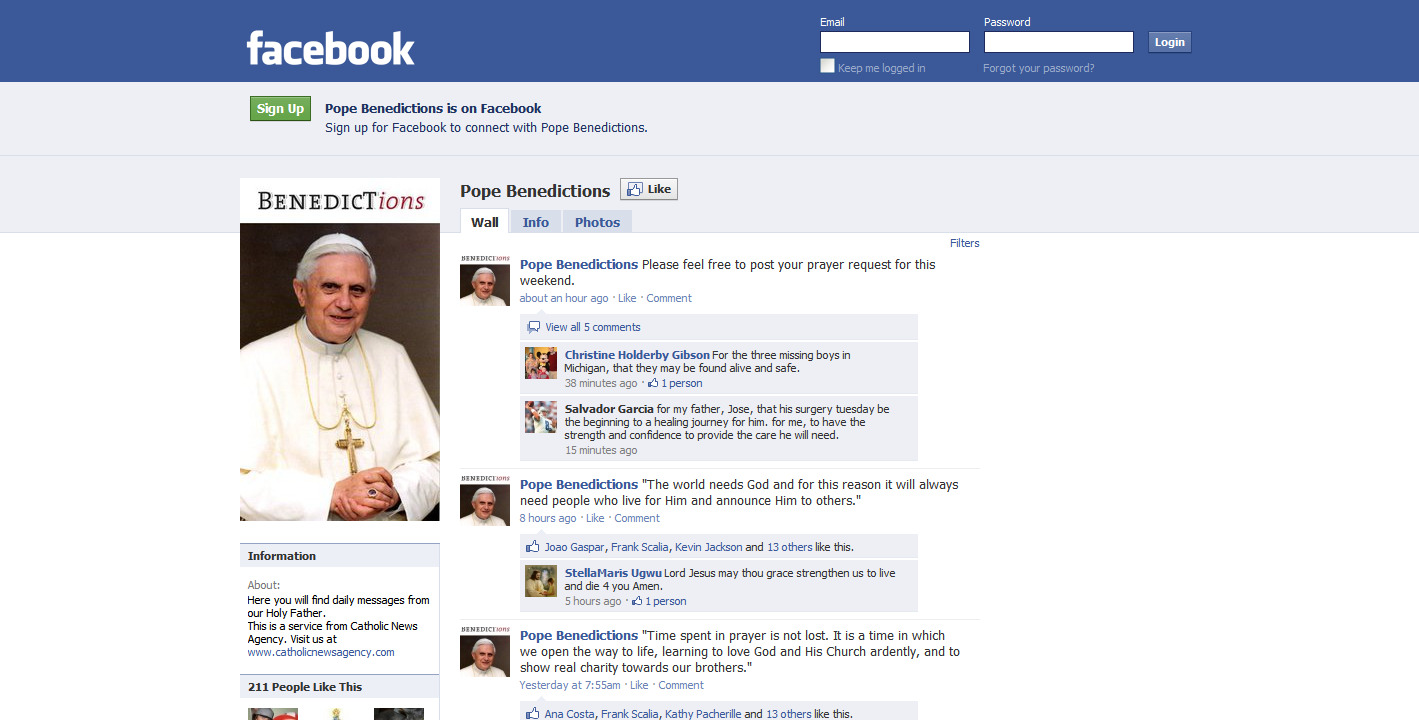 Visit pope benedict s new facebook page