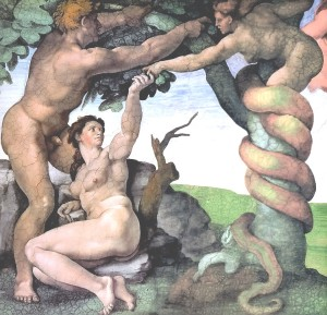 Adam and Eve in the Garden by Michelangelo